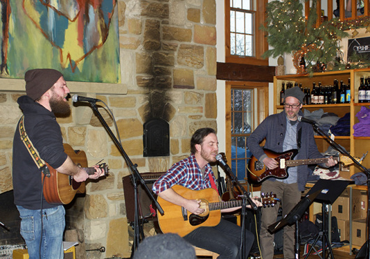 Old Hundred plays a small set at Rockmill Brewery in Lancaster on Feb. 15. (Left to right: John Helm on drums, Blake Skidmore on guitar and vocal and Hal Hixson on bass) Credit: Elizabeth Tzagournis / Lantern reporter