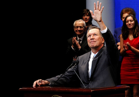 Republican Gov. John Kasich delivered his inauguration speech to a packed Southern Theatre in downtown Columbus Jan. 12. Credit: Jon McAllister / Asst. photo editor