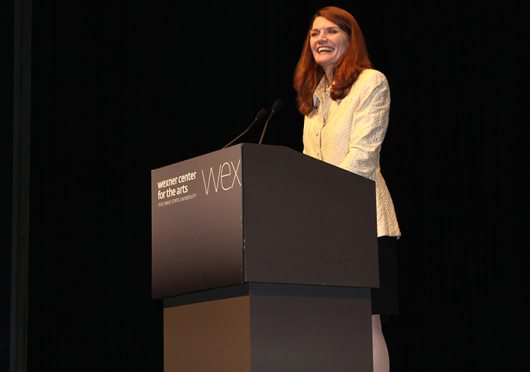 Jeannette Walls, author of 'The Glass Castle,' speaks to an audience on Sept. 23 at Mershon Auditorium. Her book was the official selection of the First Year Experience Buckeye Book Community for the 2014-15 school year. Credit: Courtesy of Jenna DiCicco