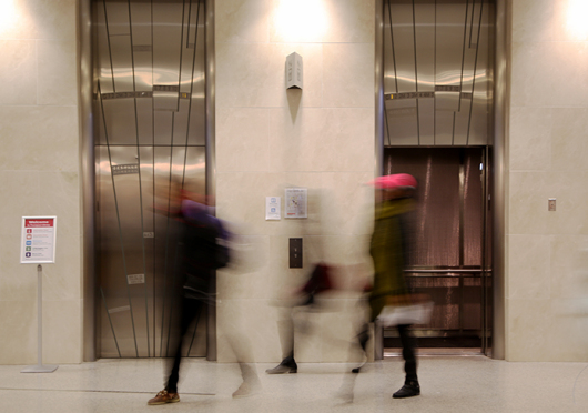 Students use elevators inside Thompson Library on Feb. 11.  Credit: Mark Batke / Photo editor