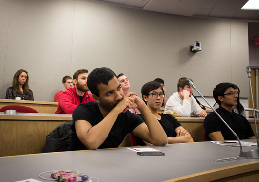 Members of the OSU Business Builders Club listen to a lecture on Jan. 21 at the Ohio Union. Many club events are in casual attire, while events such as the club's career fair on Feb. 3 require a business professional dress code.  Credit: Courtesy of Sydney Sundell