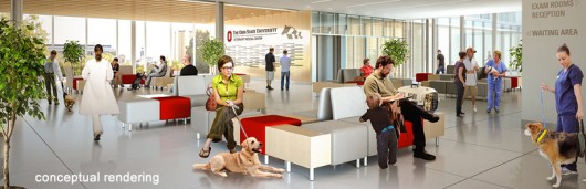 A conceptual rendering depicting part of the approved expansion and enhancement to the OSU Veterinary Medical Center (VMC). Credit: Courtesy of OSU