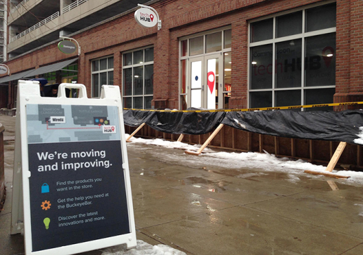 WiredOut's new store location, Tech Hub, was scheduled to open in late January, but cold weather has delayed the final phase of construction. Credit: Eric Weitz / Lantern reporter