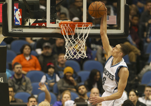 Minnesota Timberwolves guard Zach LaVine (8) dunks during the second quarter on Sunday, Dec. 14, 2014, at the Target Center in Minneapolis. Credit: Courtesy of TNS