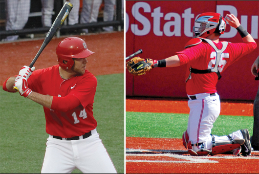 Senior catchers Connor Sabanosh (left) and Aaron Gretz (right) were named the Buckeyes' team captains ahead of the 2015 season. OSU is set to begin its spring schedule against George Mason, St. Louis and Pittsburgh at the Snowbird Classic in Port Charlotte, Fla., from Feb. 13-15. Credit: (left) Lantern file photo  (right) Tim Moody / Sports editor