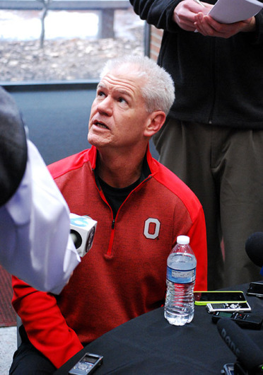 Cornerbacks coach and special teams coordinator Kerry Coombs speaks with the media on Feb. 4 at the Woody Hayes Athletic Center. Credit: Tim Moody / Sports editor