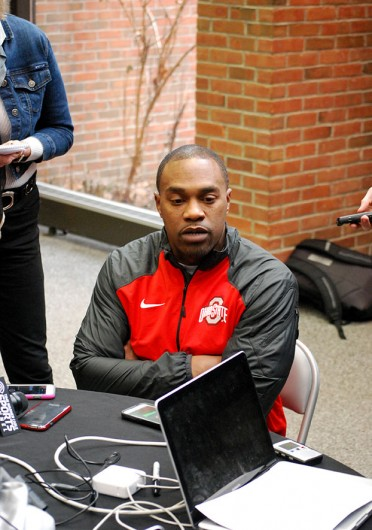 Running backs coach Stan Drayton speaks with the media on Feb. 4 at the Woody Hayes Athletic Center.  Credit: Tim Moody / Sports editor