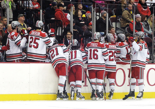 Coach Steve Rohlik addresses members of the OSU men's hockey team during a game against Michigan on Feb. 20 at the Schottenstein Center. OSU won, 5-3. Credit: Isabelle Beecy / Lantern photographer
