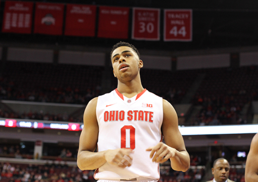 Freshman guard D'Angelo Russell reacts after a play against Maryland on Jan. 29 at the Schottenstein Center. OSU won, 80-56. Credit: Samantha Hollingshead / Lantern photographer