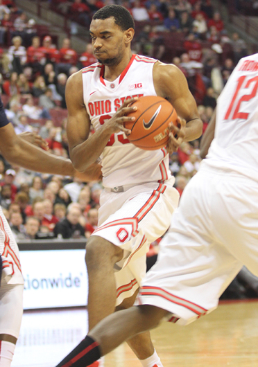Freshman forward Keita Bates-Diop drives toward the basket during a game against Penn State on Feb. 11 at the Schottenstein Center. OSU won, 75-55. Credit: Samantha Hollingshead / Lantern photographer