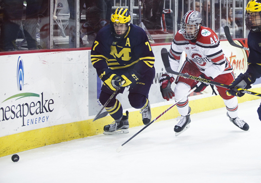 Junior forward Anthony Greco (44) chases the puck during a game against Michigan on Jan. 16 at the Schottenstein Center. OSU lost, 10-6.  Kelly Roderick / Lantern photographer