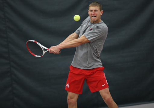 Senior Kevin Metka prepares for a forehand hit during a match against South Florida on Feb. 8 in Columbus. OSU won, 4-0. Credit: Mark Batke / Photo editor