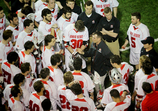 Coach Nick Myers addresses members of the OSU men's lacrosse team. Credit: Molly Tavoletti / Lantern reporter
