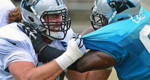 Carolina Panthers guard Andrew Norwell (left) practices on Aug. 2 at Gibbs Stadium in Spartanburg, S.C. Credit: Courtesy of TNS