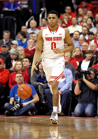 Ohio State freshman guard D'Angelo Russell dribbles up the court during a game against Maryland Jan. 29 at the Schottenstein Center. OSU won, 80-56. Credit: Sam Hollingshead / Lantern photographer