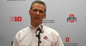 Coach Urban Meyer talks to members of the media Feb. 4 at the Woody Hayes Athletic Center. Credit: Lantern file photo