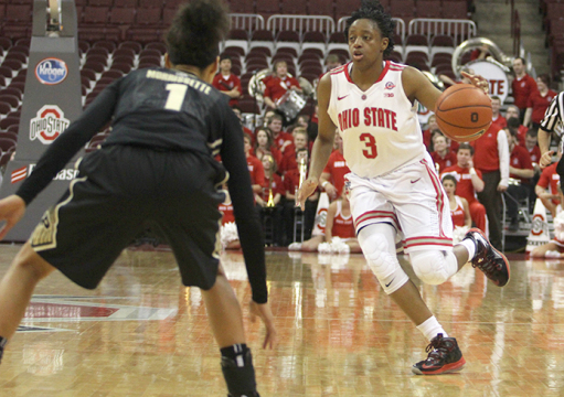 Freshman guard Kelsey Mitchell (3) dribbles the ball during a game against Purdue on Feb. 17 at the Schottenstein Center. OSU won, 92-60. Credit: Karlie Frank / Lantern photographer