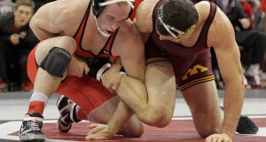Freshman Kyle Snyder competes against Minnesota on Feb. 6 at the Schottenstein Center. The Buckeyes defeated the Golden Gophers, 22-13. Samantha Hollingshead / Lantern photographer