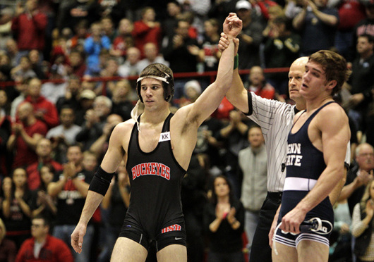 Redshirt-junior Hunter Stieber (left) is set to make his return from injury for the Buckeyes at the Big Ten Championships, beginning March 7 in Columbus. Credit: Courtesy of OSU Athletics