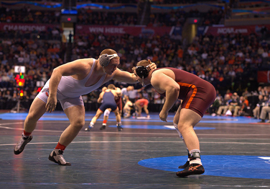 Redshirt-sophomore Nick Tavanello (left) made his return from injury in the National Duals for OSU and is expected to be 100 percent for the Big Ten Championships. Credit: Courtesy of OSU Athletics