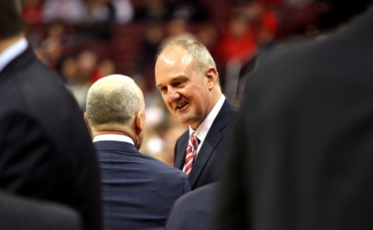 OSU coach Thad Matta has seen his team shoot just 63 percent from the charity strip in Big Ten games, and 68 percent for the entire season. Credit: Samantha Hollingshead / Lantern photographer