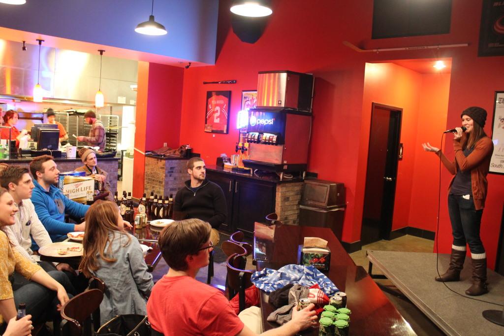A Pizza, Beer & Jokes event on Feb. 26. Credit: McKenzie Merriman / Lantern reporter