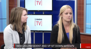 Abby Grossman (right) and Abby Waidelich (left) sit down for a one-on-one interview with The Lantern in the Lantern TV studio.