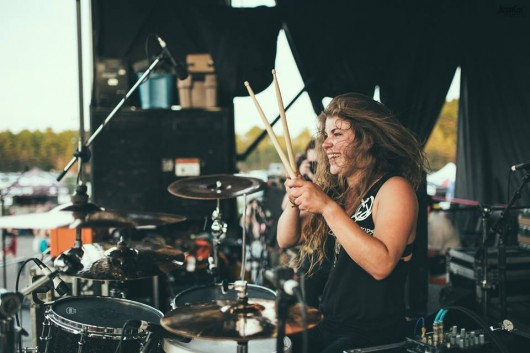 Katie Cole, drummer of Dangerkids and former OSU student, on stage with her band.  Credit: Courtesy of Jason Cox Photography