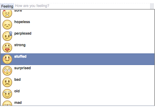 Facebook's 'fat' emotion was changed to 'stuffed' after an online campaign against the word. Credit: Screenshot of Facebook