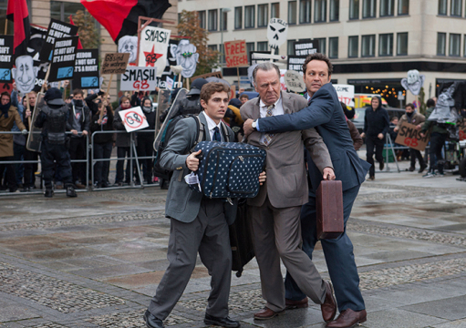 A hard-working small business owner Dan Truckman (Vince Vaughn, right) and his two associates Timothy McWinters (Tom Wilkinson, center) and Mike Pancake (David Franco, left) in the comedy 'Unfinished Business.'  Credit: Courtesy of TNS