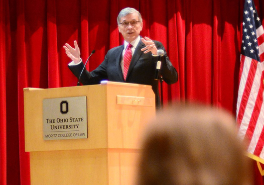 FCC Chairman and Ohio State alumnus Thomas Wheeler returned to Columbus to discuss the implications of the net neutrality decision, as well as his memories of OSU. Credit: Courtesy of OSU