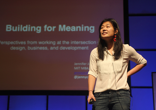 Jennifer Jin, a former KIVA fellow and current MIT Sloan fellow, speaks at the Alleviating Poverty Through Entrepreneurship Summit on Feb. 28 at Mershon Auditorium. Alaina Bartel / Lantern photographer
