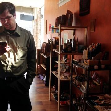 Michael Dangler in his Columbus store, The Magical Druid. Credit: Danika Stahl / Lantern reporter