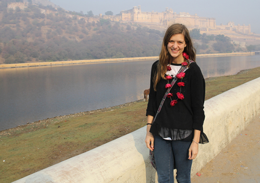 Melissa Prax stands in front of Amer Fort in Jaipur, India, in December. Credit: Courtesy of Melissa Prax