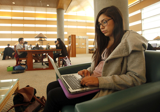 Aimme Ruiz works on an essay on the UC-Merced campus in Merced, Calif.  Credit: Courtesy of TNS