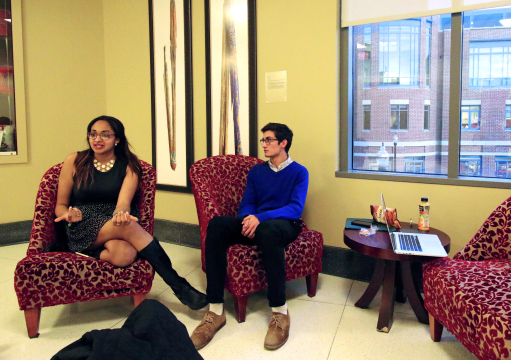 Morgan Johnson (left), a second-year in public affairs, and Andrew Braun, a fourth-year in microbiology and international studies sit in the Ohio Union, outside the Senate Chamber, after having resigned as justices of the USG judicial panel, Wednesday, March 25, 2015. Credit: Yann Schreiber / Lantern reporter