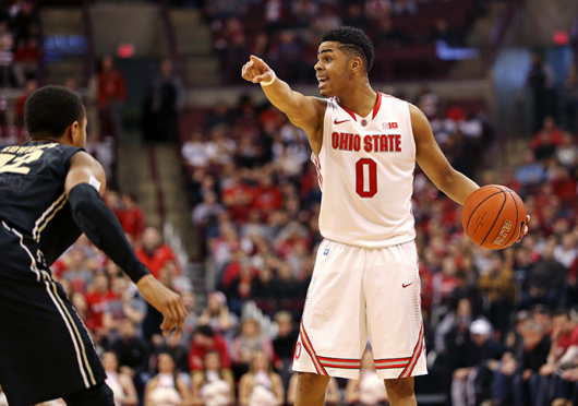 Freshman guard D'Angelo Russell (0) directs his teammates during a game against Purdue on March 1 at the Schottenstein Center. OSU won, 65-61.  Credit: Mark Batke / Photo editor