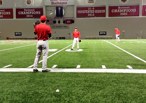 The OSU baseball team practiced at the Woody Hayes Athletic Center on March 3. before its road trip to Bowling Green, Ky. to take on Western Kentucky. Credit: Lexus Robinson / Lantern reporter