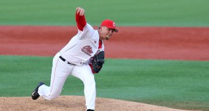 Junior pitcher Jake Post (10) delivers a pitch during a game against Northern Kentucky on March 11 at Bill Davis Stadium. OSU won, 4-3.  Credit: Mark Batke / Photo editor