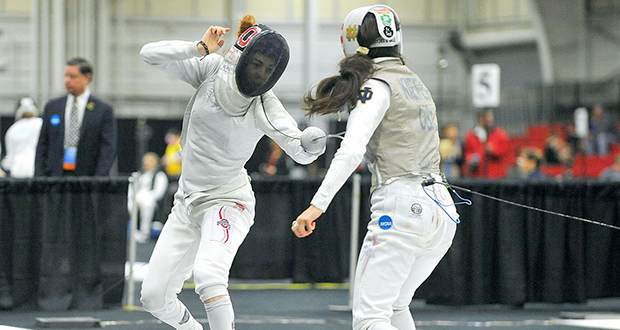 Sophomore Eleanor Harvey (left) competes at the 2015 NCAA National Championships in Columbus. Credit: Courtesy of OSU athletics
