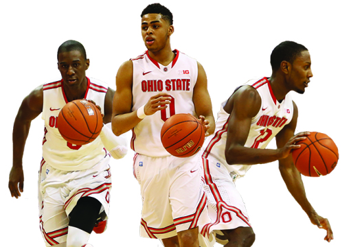 enior guard Shannon Scott (3), freshman guard D'Angelo Russell (0) and senior forward Sam Thompson (12) lead the Buckeyes into the Big Ten Tournament as the No. 6 seed. Photo illustration by Mark Batke