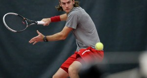 Redshirt-senior Hunter Callahan (pictured) and the OSU men's tennis team are scheduled to play host to No. 1 Oklahoma on March 6 in Columbus, where they hope to defend their over 200-game home win streak. Credit: Mark Batke / Photo editor