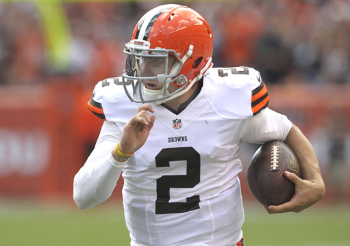 Cleveland Browns quarterback Johnny Manziel runs against the Baltimore Ravens on Sept. 21 at FirstEnergy Stadium in Cleveland. Credit: Courtesy of TNS