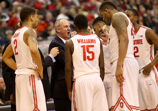 Coach Thad Matta speaks to players during a timeout of a game against Purdue on March 1 at the Schottenstein Center. OSU won, 65-61. Credit: Mark Batke / Photo editor