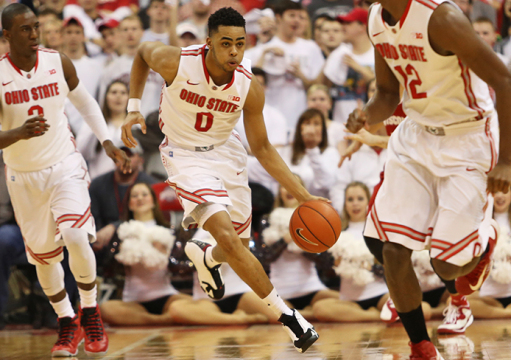 Freshman guard D'Angelo Russell (0) brings the back up the floor during a game against Wisconsin on March 8 at the Schottenstein Center. OSU lost, 72-48. Credit: Mark Batke / Photo editor