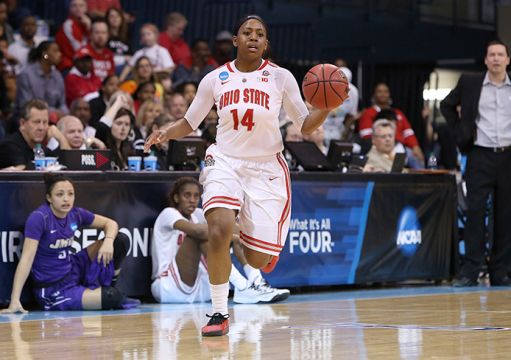 OSU junior guard Ameryst Alston (14) dribbles the ball up the floor during a NCAA Tournament first-round game against James Madison on March 21 in Chapel Hill, N.C.. OSU won, 90-80, behind Alston's 28 points. Credit: Courtesy of OSU athletics