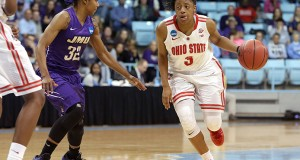 OSU freshman guard Kelsey Mitchell (3) dribbles past James Madison junior guard Angela Mickens (32) during a NCAA Tournament first-round game on March 21 in Chapel Hill, N.C.. OSU won, 90-80. Credit: Courtesy of OSU athletics