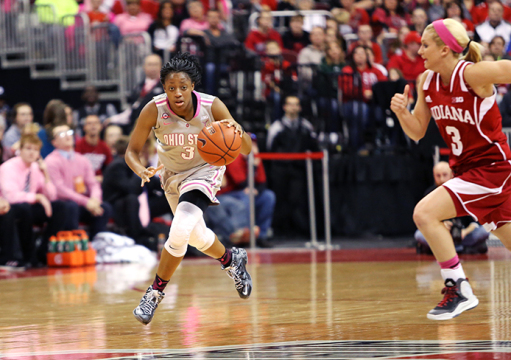 Freshman guard Kelsey Mitchell (3) dribbles the ball during a game against Indiana on Feb. 8 at the Schottenstein Center. OSU won, 78-70. Credit: Mark Batke / Photo editor