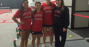 The OSU women's tennis team currently has 4 international players occupying its roster in sophomore Ferny Angeles Paz (left), sophomore Miho Kowase, junior Grainne O'Neill and sophomore Gabriella De Santis. Credit: Whitney Wilson / Lantern reporter