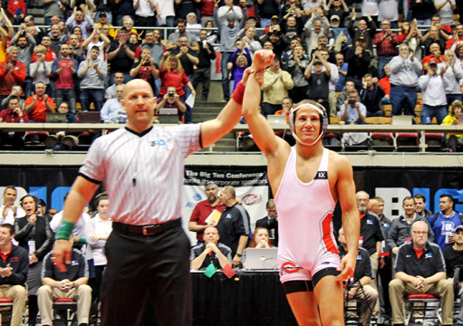 OSU redshirt-senior Logan Steiber is victorious during a match against Iowa at the St. John Arena on March 8. OSU and Iowa tied at 120 points, making them B1G co-champions. Credit: Patrick Kalista / Lantern reporter